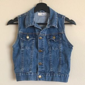 Cropped Denim Sleevless Jacket